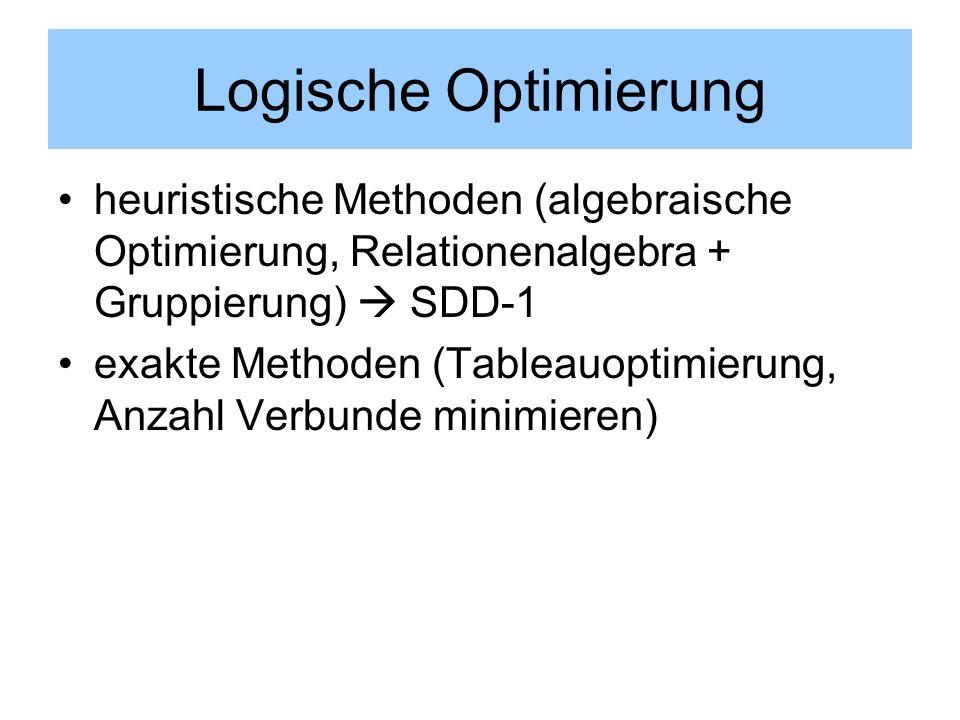 Logische Optimierung heuristische Methoden (algebraische Optimierung, Relationenalgebra + Gruppierung) SDD-1 exakte Methoden (Tableauoptimierung, Anza