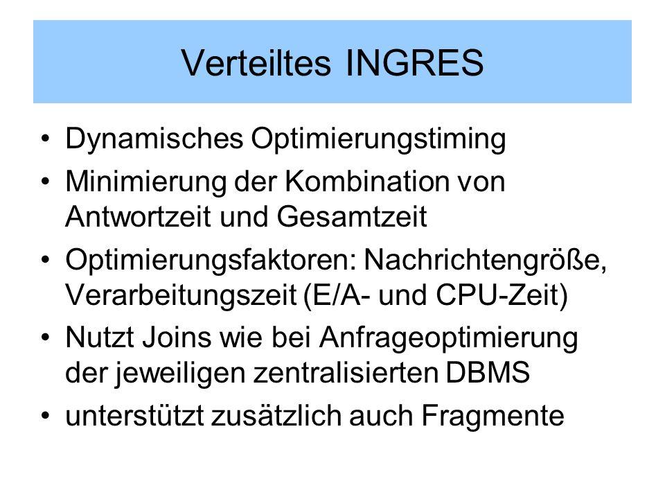Verteiltes INGRES Dynamisches Optimierungstiming Minimierung der Kombination von Antwortzeit und Gesamtzeit Optimierungsfaktoren: Nachrichtengröße, Ve