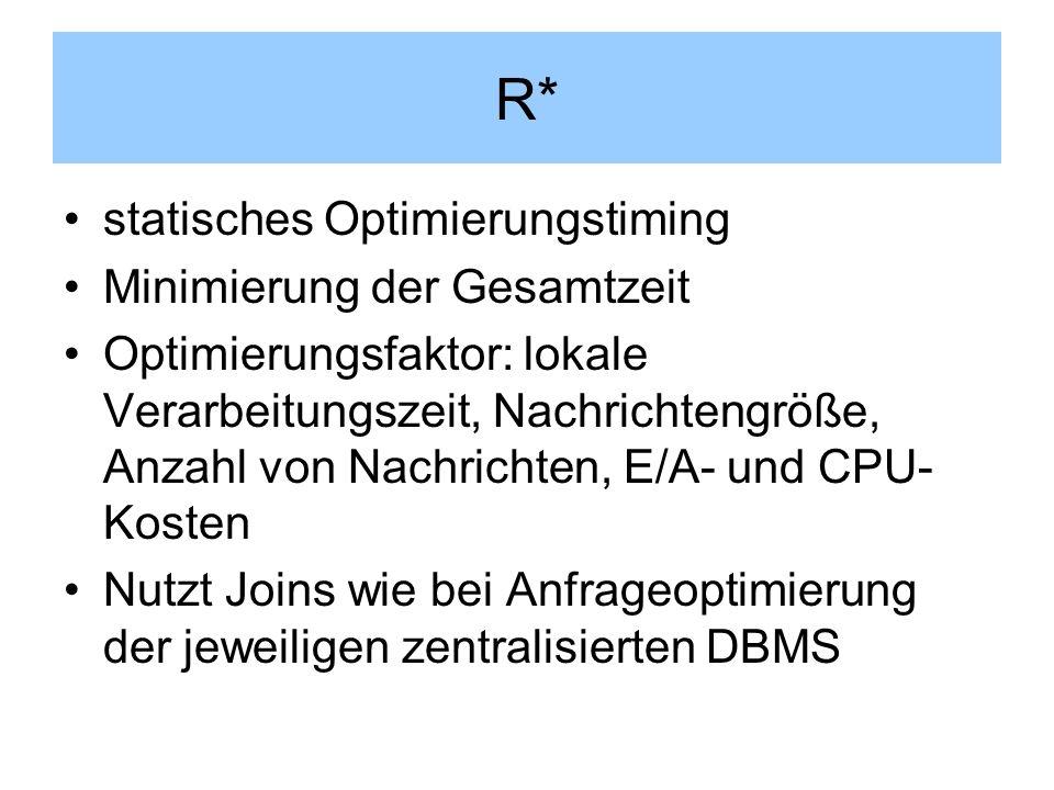 R* statisches Optimierungstiming Minimierung der Gesamtzeit Optimierungsfaktor: lokale Verarbeitungszeit, Nachrichtengröße, Anzahl von Nachrichten, E/