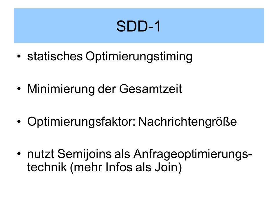 SDD-1 statisches Optimierungstiming Minimierung der Gesamtzeit Optimierungsfaktor: Nachrichtengröße nutzt Semijoins als Anfrageoptimierungs- technik (