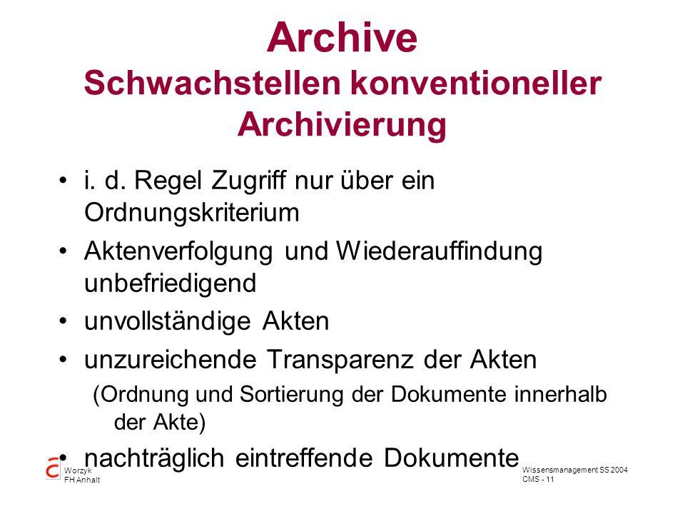 Wissensmanagement SS 2004 CMS - 11 Worzyk FH Anhalt Archive Schwachstellen konventioneller Archivierung i. d. Regel Zugriff nur über ein Ordnungskrite
