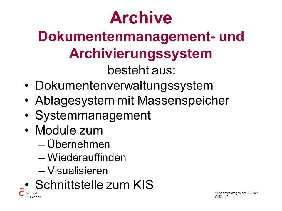 Wissensmanagement SS 2004 CMS - 12 Worzyk FH Anhalt Archive Dokumentenmanagement- und Archivierungssystem besteht aus: Dokumentenverwaltungssystem Abl