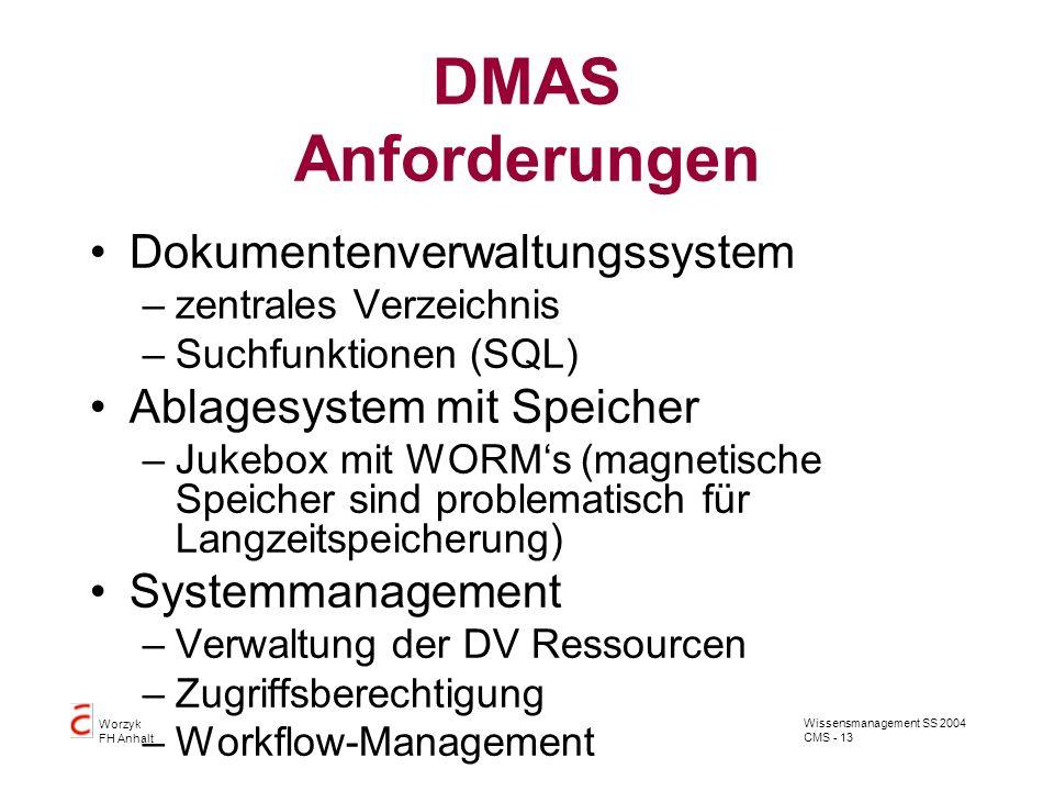 Wissensmanagement SS 2004 CMS - 13 Worzyk FH Anhalt DMAS Anforderungen Dokumentenverwaltungssystem –zentrales Verzeichnis –Suchfunktionen (SQL) Ablage