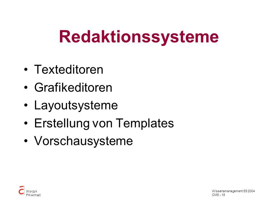 Wissensmanagement SS 2004 CMS - 18 Worzyk FH Anhalt Redaktionssysteme Texteditoren Grafikeditoren Layoutsysteme Erstellung von Templates Vorschausyste