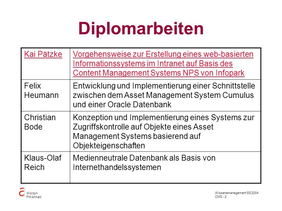 Wissensmanagement SS 2004 CMS - 2 Worzyk FH Anhalt Diplomarbeiten Kai PätzkeVorgehensweise zur Erstellung eines web-basierten Informationssystems im I