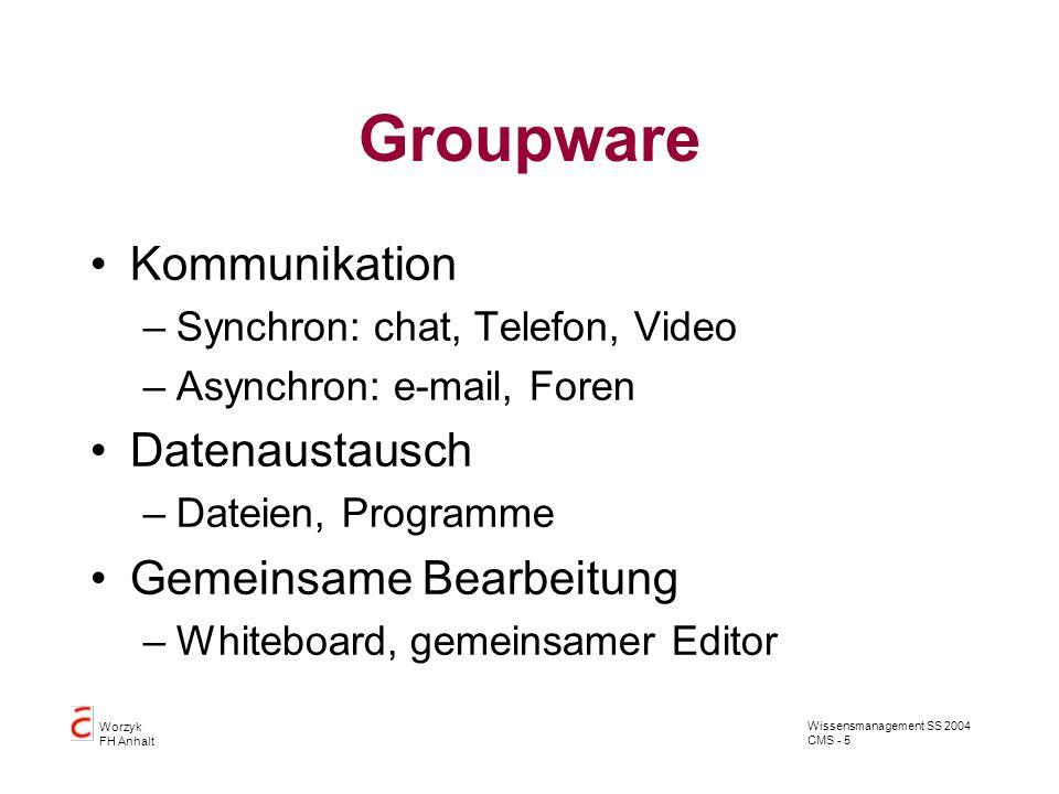 Wissensmanagement SS 2004 CMS - 5 Worzyk FH Anhalt Groupware Kommunikation –Synchron: chat, Telefon, Video –Asynchron: e-mail, Foren Datenaustausch –D