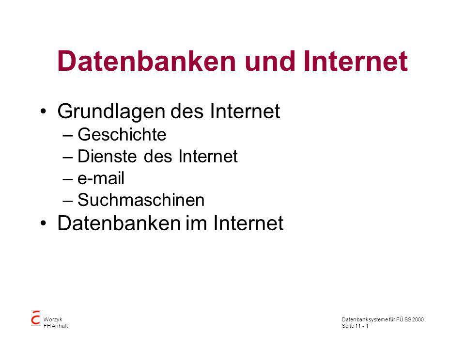 Datenbanksysteme für FÜ SS 2000 Seite 11 - 1 Worzyk FH Anhalt Datenbanken und Internet Grundlagen des Internet –Geschichte –Dienste des Internet –e-ma