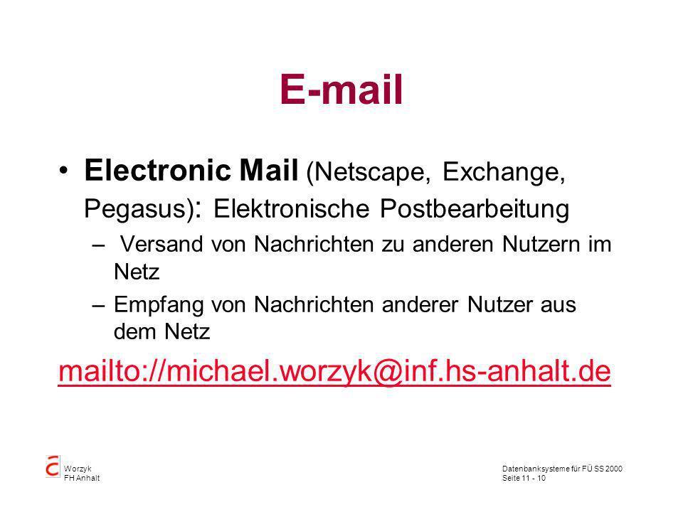 Datenbanksysteme für FÜ SS 2000 Seite 11 - 10 Worzyk FH Anhalt E-mail Electronic Mail (Netscape, Exchange, Pegasus) : Elektronische Postbearbeitung –