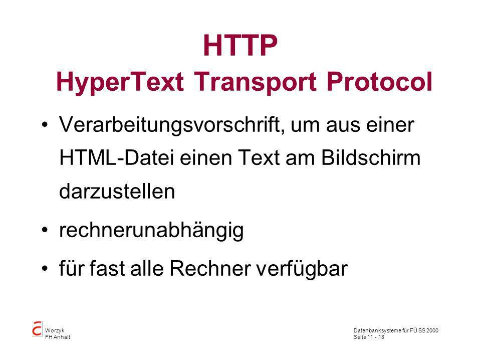 Datenbanksysteme für FÜ SS 2000 Seite 11 - 18 Worzyk FH Anhalt HTTP HyperText Transport Protocol Verarbeitungsvorschrift, um aus einer HTML-Datei eine