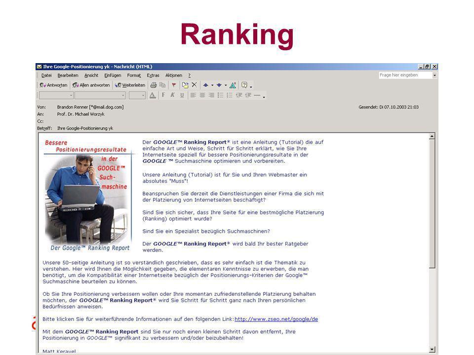 Datenbanksysteme für FÜ SS 2000 Seite 11 - 22 Worzyk FH Anhalt Ranking