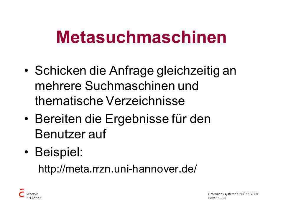 Datenbanksysteme für FÜ SS 2000 Seite 11 - 25 Worzyk FH Anhalt Metasuchmaschinen Schicken die Anfrage gleichzeitig an mehrere Suchmaschinen und themat