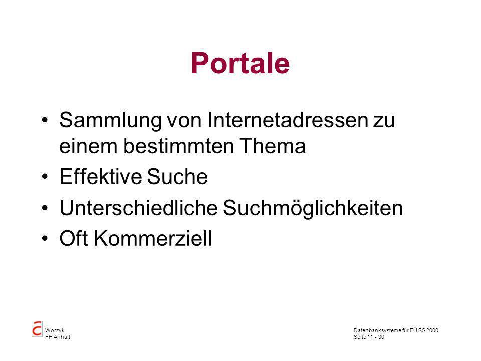 Datenbanksysteme für FÜ SS 2000 Seite 11 - 30 Worzyk FH Anhalt Portale Sammlung von Internetadressen zu einem bestimmten Thema Effektive Suche Untersc
