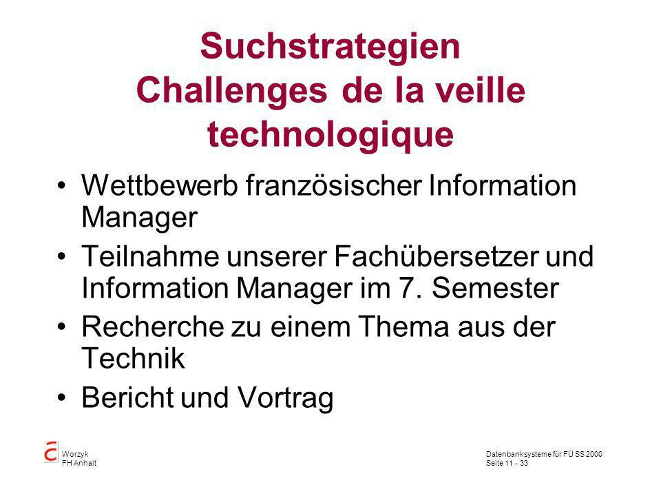 Datenbanksysteme für FÜ SS 2000 Seite 11 - 33 Worzyk FH Anhalt Suchstrategien Challenges de la veille technologique Wettbewerb französischer Informati