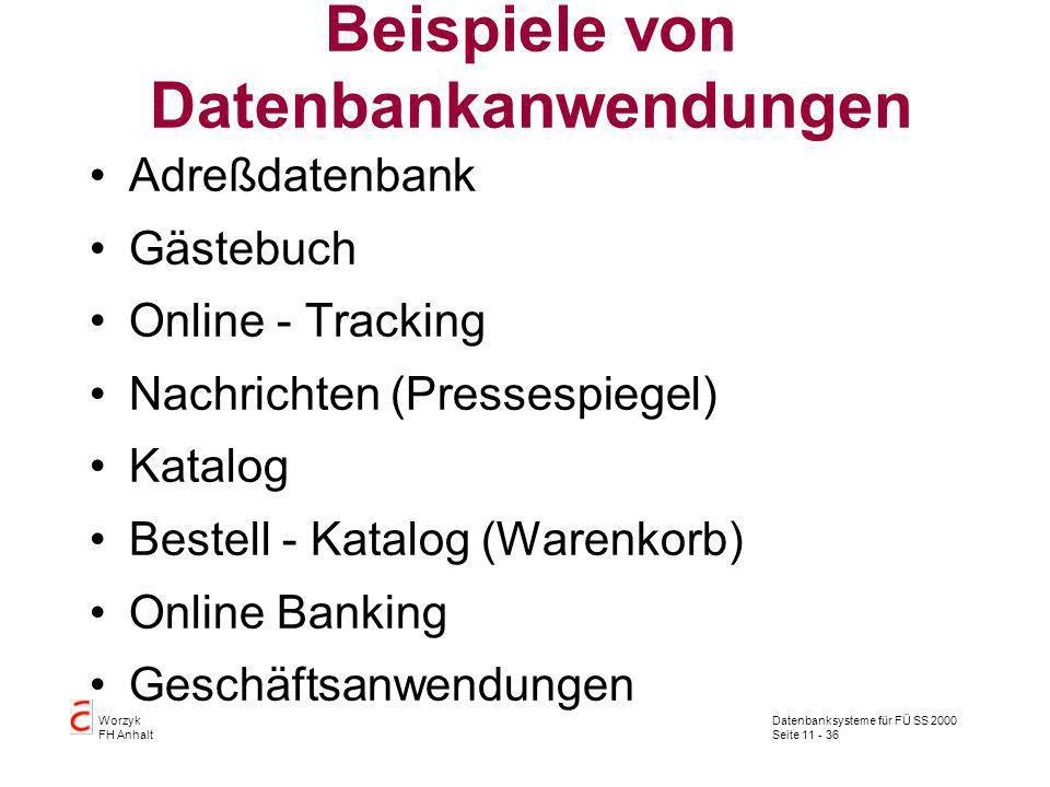 Datenbanksysteme für FÜ SS 2000 Seite 11 - 36 Worzyk FH Anhalt Beispiele von Datenbankanwendungen Adreßdatenbank Gästebuch Online - Tracking Nachricht