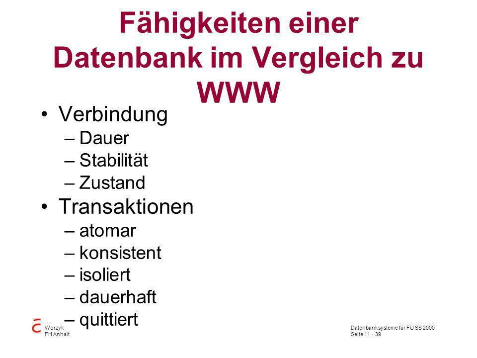 Datenbanksysteme für FÜ SS 2000 Seite 11 - 39 Worzyk FH Anhalt Fähigkeiten einer Datenbank im Vergleich zu WWW Verbindung –Dauer –Stabilität –Zustand