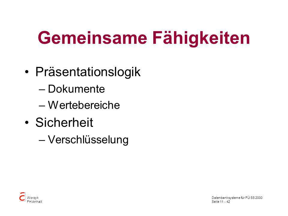 Datenbanksysteme für FÜ SS 2000 Seite 11 - 42 Worzyk FH Anhalt Gemeinsame Fähigkeiten Präsentationslogik –Dokumente –Wertebereiche Sicherheit –Verschl