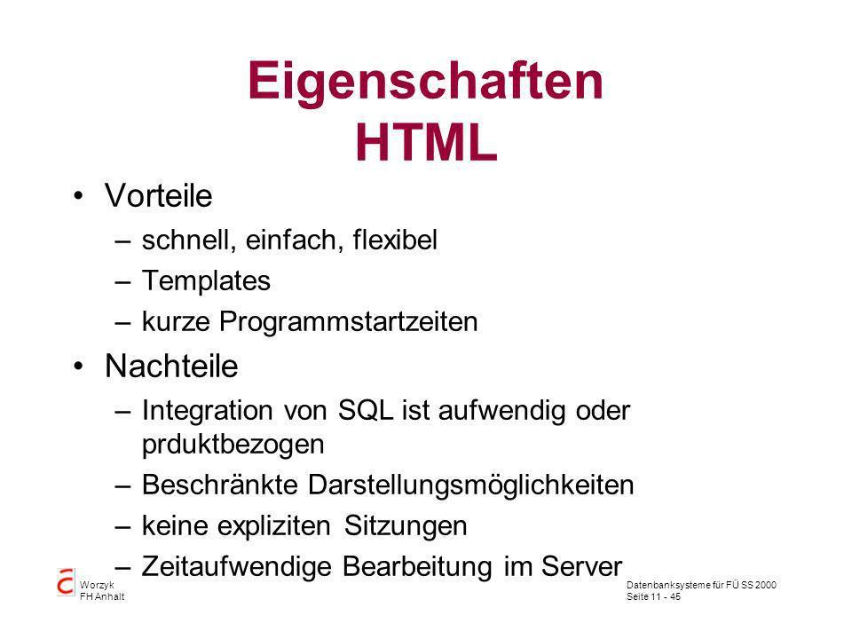 Datenbanksysteme für FÜ SS 2000 Seite 11 - 45 Worzyk FH Anhalt Eigenschaften HTML Vorteile –schnell, einfach, flexibel –Templates –kurze Programmstart
