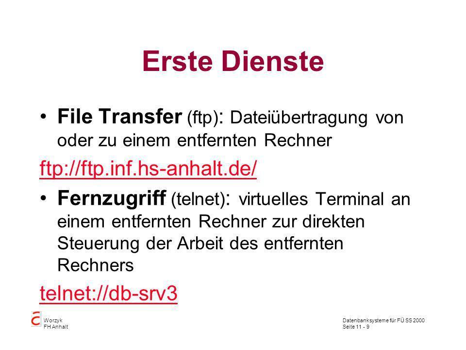Datenbanksysteme für FÜ SS 2000 Seite 11 - 9 Worzyk FH Anhalt Erste Dienste File Transfer (ftp) : Dateiübertragung von oder zu einem entfernten Rechne