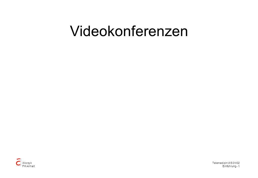 Worzyk FH Anhalt Telemedizin WS 01/02 Einführung - 12 Raumgestaltung Genügend Sitzplätze, von der Kamera sichtbar Monitore von jedem Sitzplatz einsehbar Keine toten Winkel Ausreichende Beleuchtung, kein Mischlicht Akustisch abgeschirmt Einfarbiger, neutraler Hintergrund