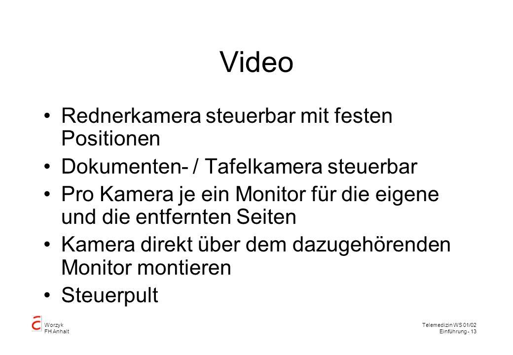 Worzyk FH Anhalt Telemedizin WS 01/02 Einführung - 13 Video Rednerkamera steuerbar mit festen Positionen Dokumenten- / Tafelkamera steuerbar Pro Kamera je ein Monitor für die eigene und die entfernten Seiten Kamera direkt über dem dazugehörenden Monitor montieren Steuerpult