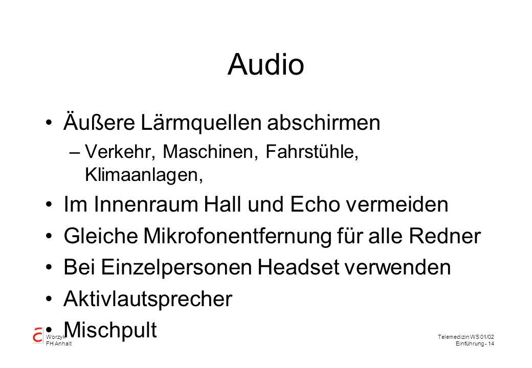Worzyk FH Anhalt Telemedizin WS 01/02 Einführung - 14 Audio Äußere Lärmquellen abschirmen –Verkehr, Maschinen, Fahrstühle, Klimaanlagen, Im Innenraum Hall und Echo vermeiden Gleiche Mikrofonentfernung für alle Redner Bei Einzelpersonen Headset verwenden Aktivlautsprecher Mischpult