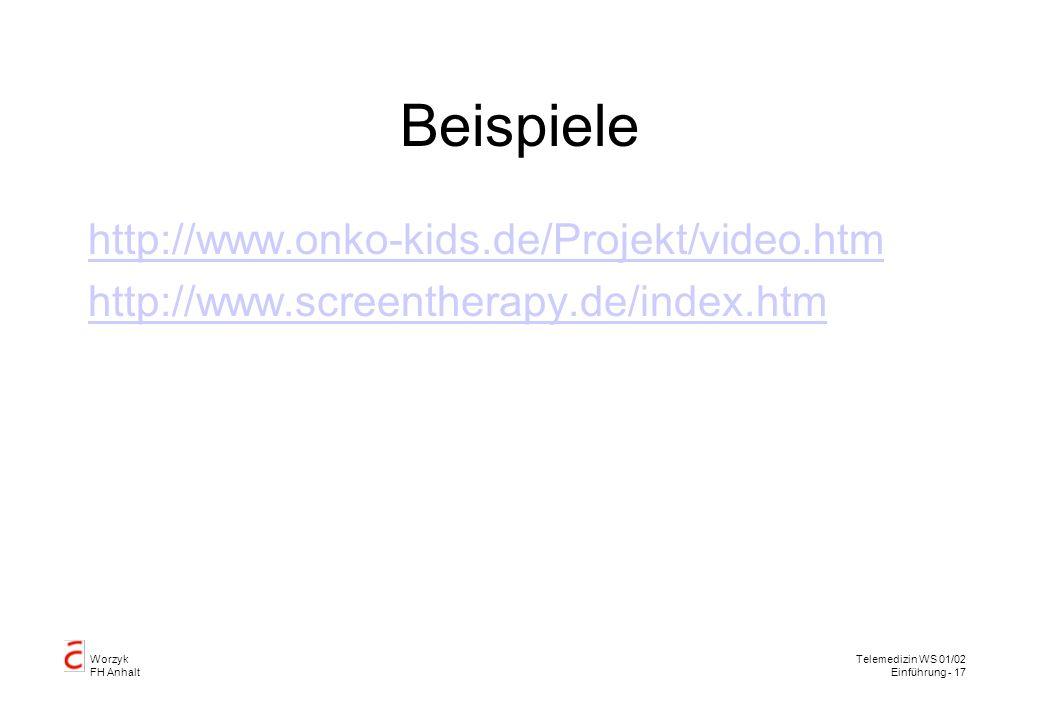 Worzyk FH Anhalt Telemedizin WS 01/02 Einführung - 17 Beispiele http://www.onko-kids.de/Projekt/video.htm http://www.screentherapy.de/index.htm