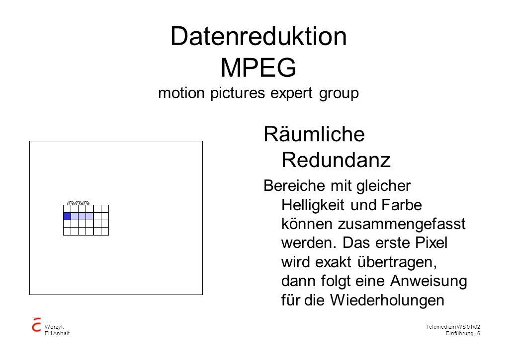 Worzyk FH Anhalt Telemedizin WS 01/02 Einführung - 7 Datenreduktion MPEG Zeitliche Redundanz Einige Bildteile ändern sich nicht oder nur wenig von Bild zu Bild.