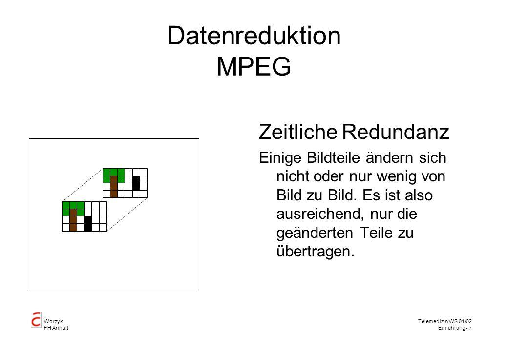Worzyk FH Anhalt Telemedizin WS 01/02 Einführung - 8 Datenreduktion MPEG Statistische Redundanz Prädiktion Aus der Vergangenheit bekannte Bewegungen werden vorhergesagt und nur unvorhergesehene Bildinhalte werden übertragen