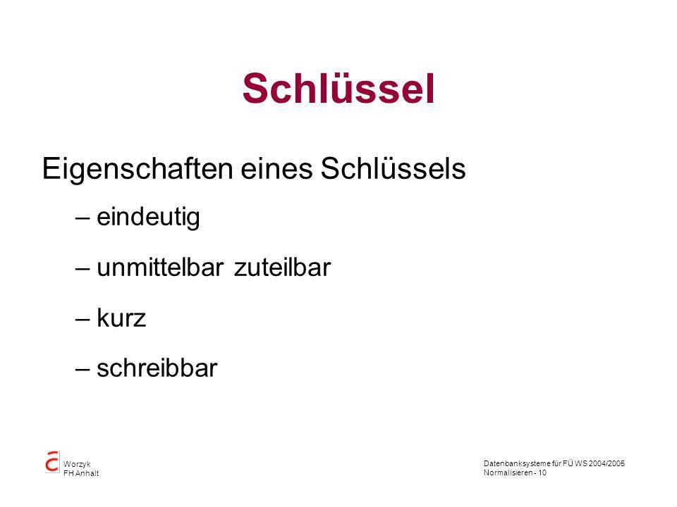 Datenbanksysteme für FÜ WS 2004/2005 Normalisieren - 10 Worzyk FH Anhalt Schlüssel Eigenschaften eines Schlüssels –eindeutig –unmittelbar zuteilbar –k