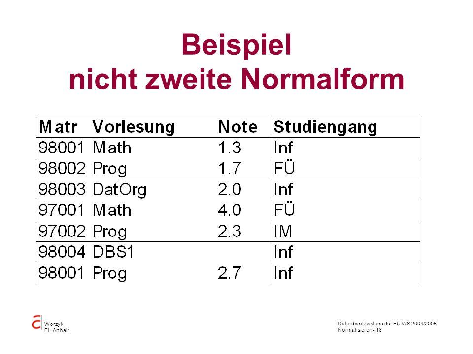Datenbanksysteme für FÜ WS 2004/2005 Normalisieren - 18 Worzyk FH Anhalt Beispiel nicht zweite Normalform