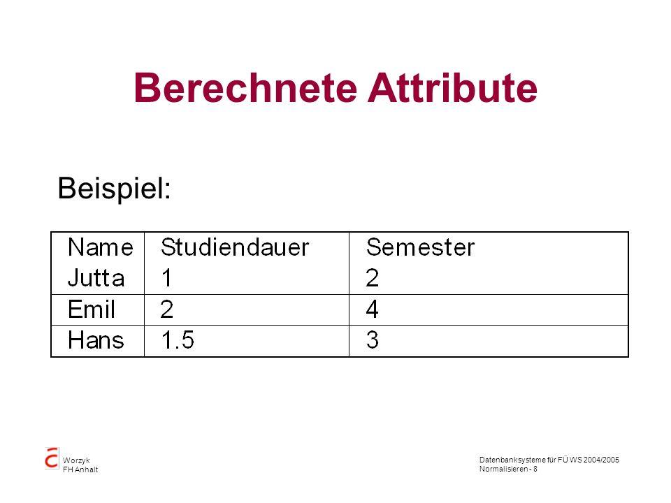 Datenbanksysteme für FÜ WS 2004/2005 Normalisieren - 8 Worzyk FH Anhalt Berechnete Attribute Beispiel: