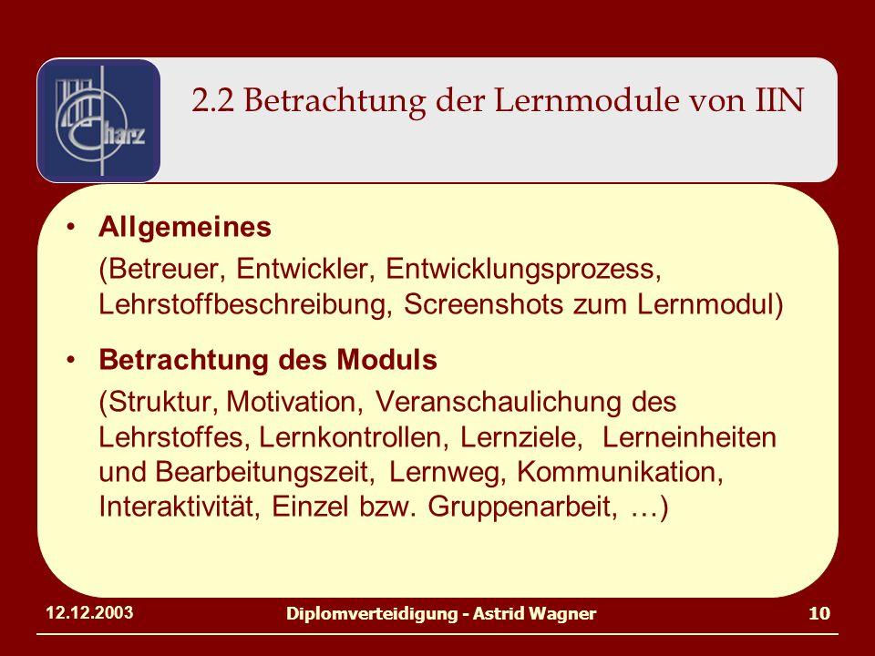 12.12.2003Diplomverteidigung - Astrid Wagner10 2.2 Betrachtung der Lernmodule von IIN Allgemeines (Betreuer, Entwickler, Entwicklungsprozess, Lehrstof