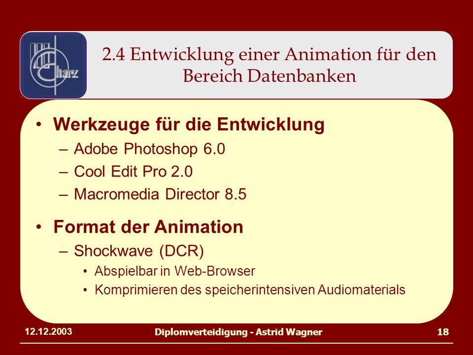 12.12.2003Diplomverteidigung - Astrid Wagner18 2.4 Entwicklung einer Animation für den Bereich Datenbanken Werkzeuge für die Entwicklung –Adobe Photoshop 6.0 –Cool Edit Pro 2.0 –Macromedia Director 8.5 Format der Animation –Shockwave (DCR) Abspielbar in Web-Browser Komprimieren des speicherintensiven Audiomaterials