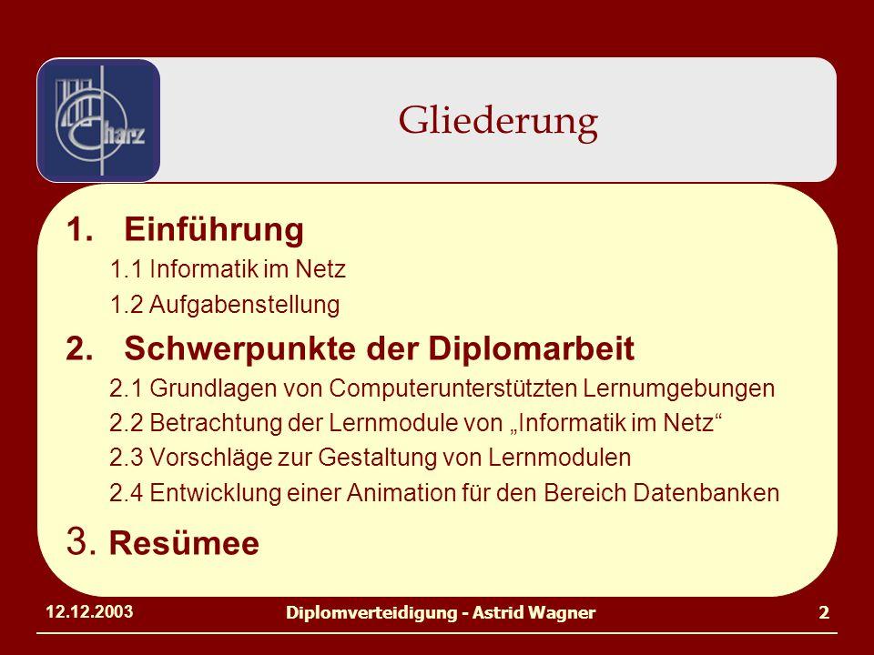 12.12.2003Diplomverteidigung - Astrid Wagner2 1.Einführung 1.1 Informatik im Netz 1.2 Aufgabenstellung 2.Schwerpunkte der Diplomarbeit 2.1 Grundlagen