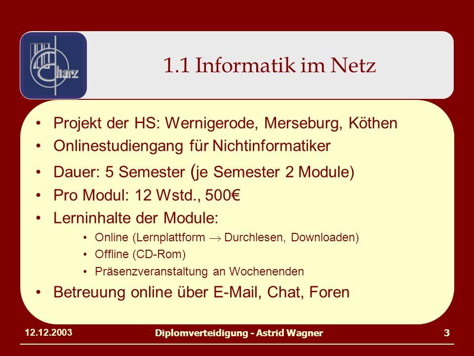 12.12.2003Diplomverteidigung - Astrid Wagner3 1.1 Informatik im Netz Projekt der HS: Wernigerode, Merseburg, Köthen Onlinestudiengang für Nichtinformatiker Dauer: 5 Semester ( je Semester 2 Module) Pro Modul: 12 Wstd., 500 Lerninhalte der Module: Online (Lernplattform Durchlesen, Downloaden) Offline (CD-Rom) Präsenzveranstaltung an Wochenenden Betreuung online über E-Mail, Chat, Foren