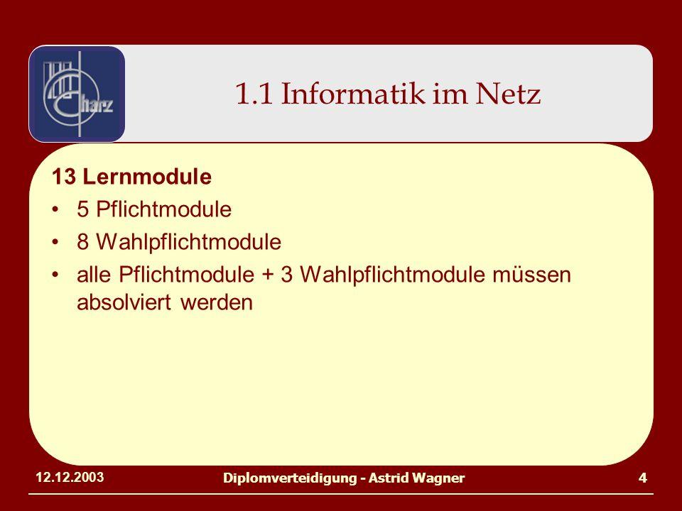 12.12.2003Diplomverteidigung - Astrid Wagner4 1.1 Informatik im Netz 13 Lernmodule 5 Pflichtmodule 8 Wahlpflichtmodule alle Pflichtmodule + 3 Wahlpfli