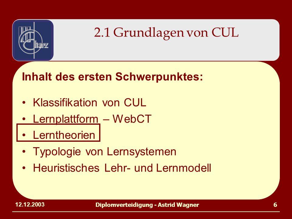 12.12.2003Diplomverteidigung - Astrid Wagner6 Inhalt des ersten Schwerpunktes: Klassifikation von CUL Lernplattform – WebCT Lerntheorien Typologie von