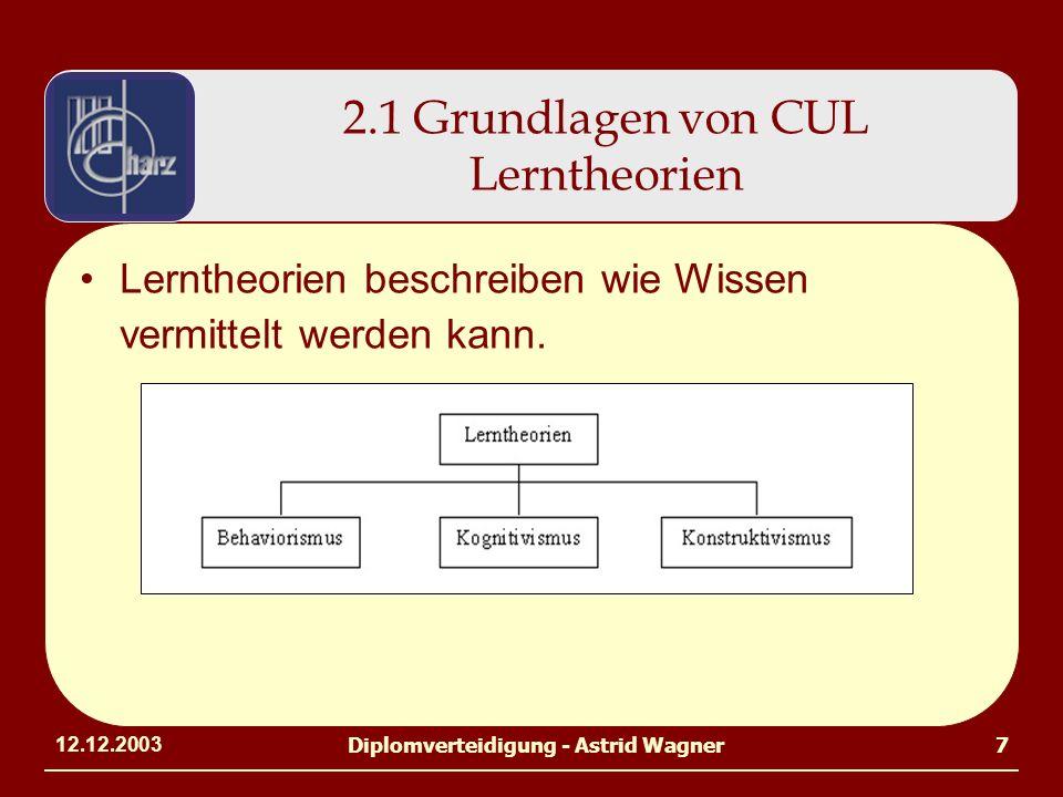 12.12.2003Diplomverteidigung - Astrid Wagner7 2.1 Grundlagen von CUL Lerntheorien Lerntheorien beschreiben wie Wissen vermittelt werden kann.