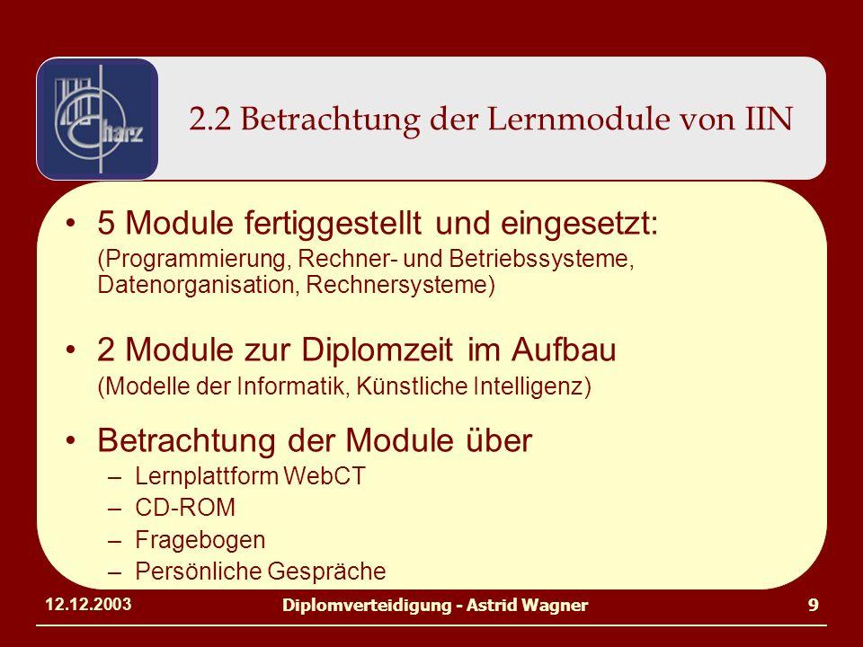 12.12.2003Diplomverteidigung - Astrid Wagner9 2.2 Betrachtung der Lernmodule von IIN 5 Module fertiggestellt und eingesetzt: (Programmierung, Rechner- und Betriebssysteme, Datenorganisation, Rechnersysteme) 2 Module zur Diplomzeit im Aufbau (Modelle der Informatik, Künstliche Intelligenz) Betrachtung der Module über –Lernplattform WebCT –CD-ROM –Fragebogen –Persönliche Gespräche