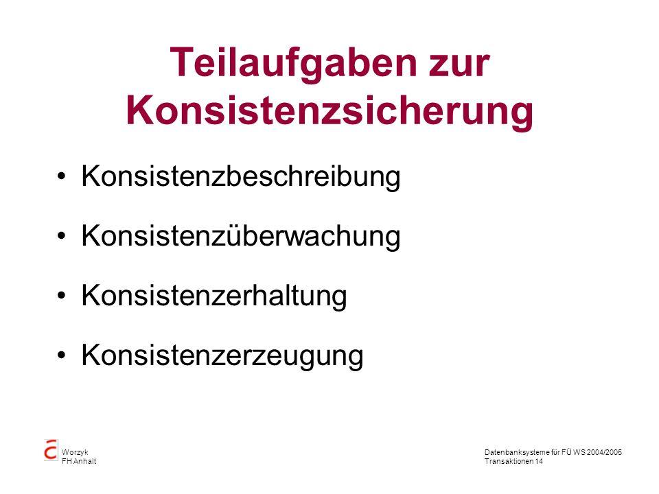 Datenbanksysteme für FÜ WS 2004/2005 Transaktionen 14 Worzyk FH Anhalt Teilaufgaben zur Konsistenzsicherung Konsistenzbeschreibung Konsistenzüberwachung Konsistenzerhaltung Konsistenzerzeugung
