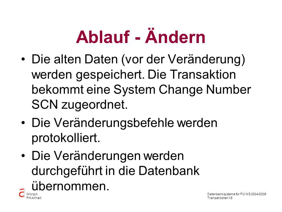 Datenbanksysteme für FÜ WS 2004/2005 Transaktionen 19 Worzyk FH Anhalt Ablauf - Ändern Die alten Daten (vor der Veränderung) werden gespeichert.