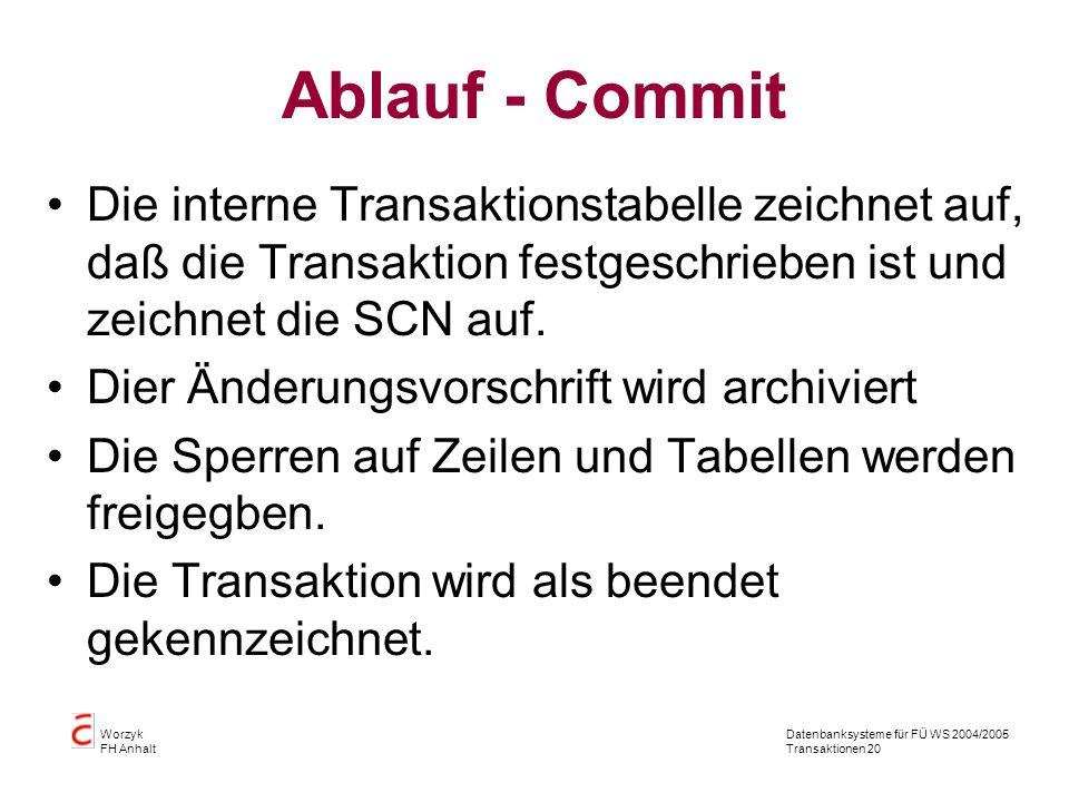 Datenbanksysteme für FÜ WS 2004/2005 Transaktionen 20 Worzyk FH Anhalt Ablauf - Commit Die interne Transaktionstabelle zeichnet auf, daß die Transaktion festgeschrieben ist und zeichnet die SCN auf.