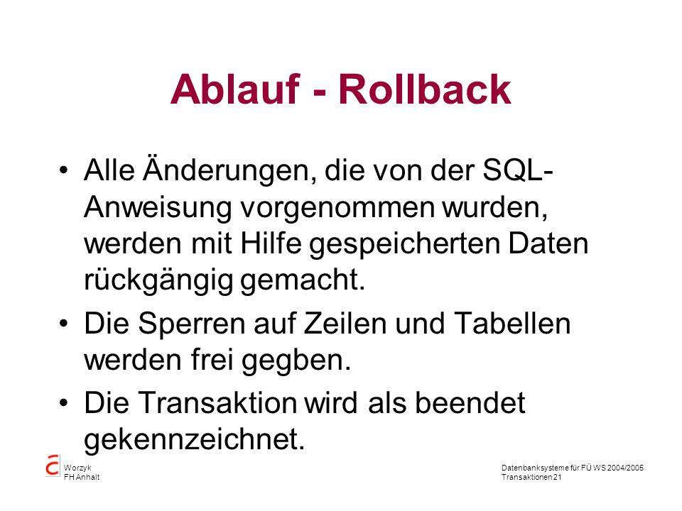 Datenbanksysteme für FÜ WS 2004/2005 Transaktionen 21 Worzyk FH Anhalt Ablauf - Rollback Alle Änderungen, die von der SQL- Anweisung vorgenommen wurden, werden mit Hilfe gespeicherten Daten rückgängig gemacht.