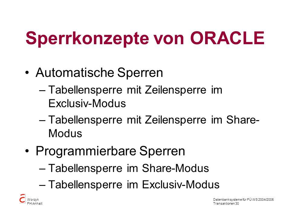 Datenbanksysteme für FÜ WS 2004/2005 Transaktionen 30 Worzyk FH Anhalt Sperrkonzepte von ORACLE Automatische Sperren –Tabellensperre mit Zeilensperre im Exclusiv-Modus –Tabellensperre mit Zeilensperre im Share- Modus Programmierbare Sperren –Tabellensperre im Share-Modus –Tabellensperre im Exclusiv-Modus
