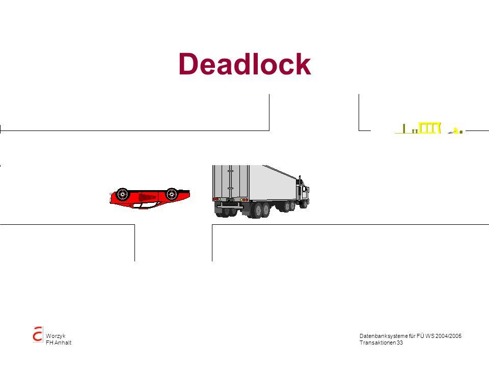 Datenbanksysteme für FÜ WS 2004/2005 Transaktionen 33 Worzyk FH Anhalt Deadlock