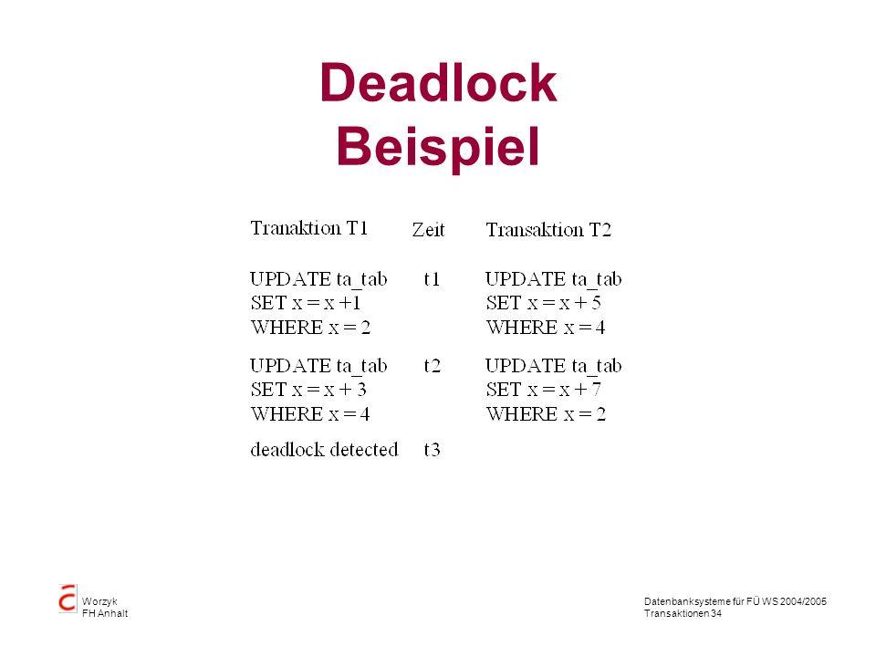 Datenbanksysteme für FÜ WS 2004/2005 Transaktionen 34 Worzyk FH Anhalt Deadlock Beispiel