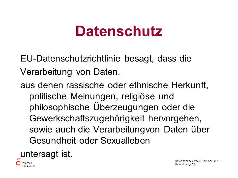 Datenbanksysteme 3 Sommer 2001 Data Mining - 13 Worzyk FH Anhalt Datenschutz EU-Datenschutzrichtlinie besagt, dass die Verarbeitung von Daten, aus den