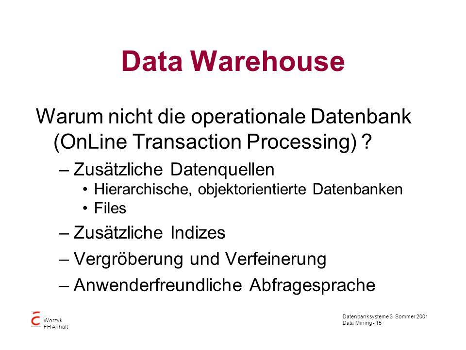 Datenbanksysteme 3 Sommer 2001 Data Mining - 15 Worzyk FH Anhalt Data Warehouse Warum nicht die operationale Datenbank (OnLine Transaction Processing)