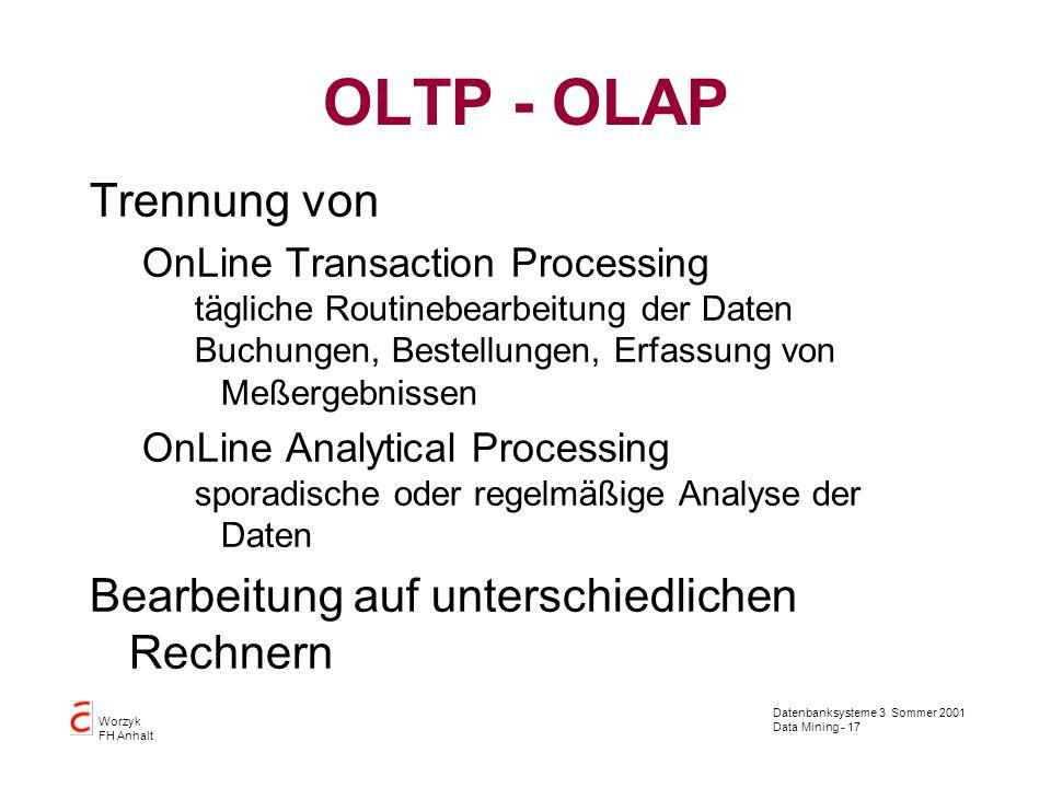 Datenbanksysteme 3 Sommer 2001 Data Mining - 17 Worzyk FH Anhalt OLTP - OLAP Trennung von OnLine Transaction Processing tägliche Routinebearbeitung de