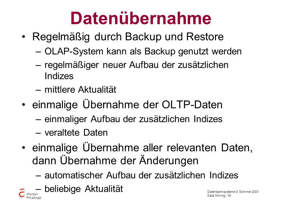 Datenbanksysteme 3 Sommer 2001 Data Mining - 18 Worzyk FH Anhalt Datenübernahme Regelmäßig durch Backup und Restore –OLAP-System kann als Backup genut